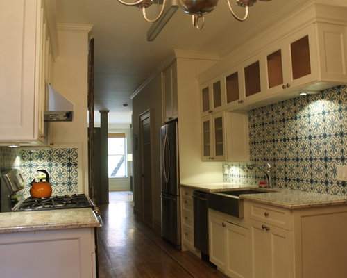 Small Elegant Galley Light Wood Floor Kitchen Pantry Photo In New York With A Farmhouse Sink