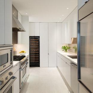 ワシントンD.C.のコンテンポラリースタイルのおしゃれなII型キッチン (フラットパネル扉のキャビネット、白いキャビネット、シルバーの調理設備、アイランドなし) の写真