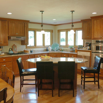 Oak, Cherry, and Granite Contemporary Kitchen with Center Island