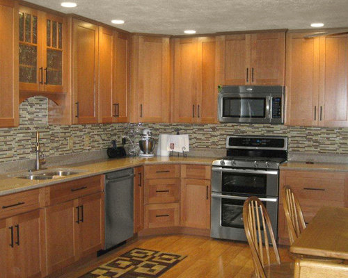 Kitchen Design With Oak Cabinets find this pin and more on small kitchen ideas Example Of A Trendy Kitchen Design In Minneapolis