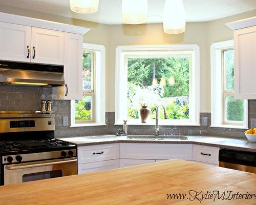 Oak Kitchen Remodel - Quartz and White Cabinets