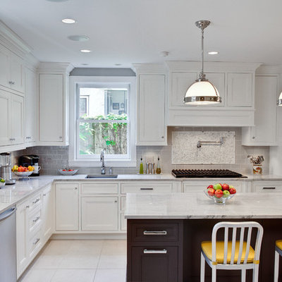Inspiration for a timeless kitchen remodel in Chicago with ceramic backsplash, quartzite countertops, gray backsplash, an undermount sink, white cabinets and recessed-panel cabinets