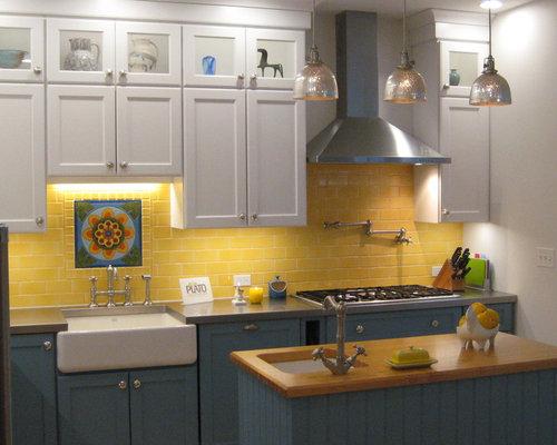 cuisine campagne avec une cr dence jaune photos et id es d co de cuisines. Black Bedroom Furniture Sets. Home Design Ideas