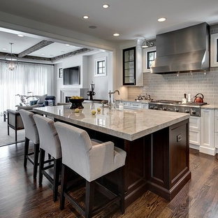Transitional open concept kitchen ideas - Inspiration for a transitional galley dark wood floor open concept kitchen remodel in Detroit with recessed-panel cabinets, white cabinets, gray backsplash, subway tile backsplash, stainless steel appliances and an island