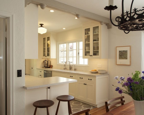Small Mediterranean Enclosed Kitchen Inspiration   Small Tuscan Galley  Ceramic Floor Enclosed Kitchen Photo In San