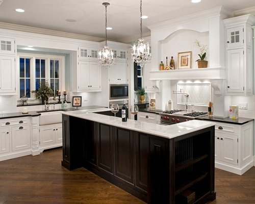 White Kitchen Dark Island white cabinet dark island | houzz