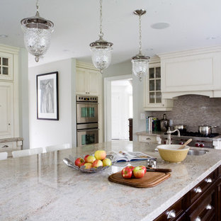 Traditional kitchen appliance - Example of a classic kitchen design in Toronto with glass-front cabinets, stainless steel appliances, white cabinets and granite countertops