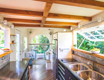Oasis Tiny Home Exposed Wooden Beams