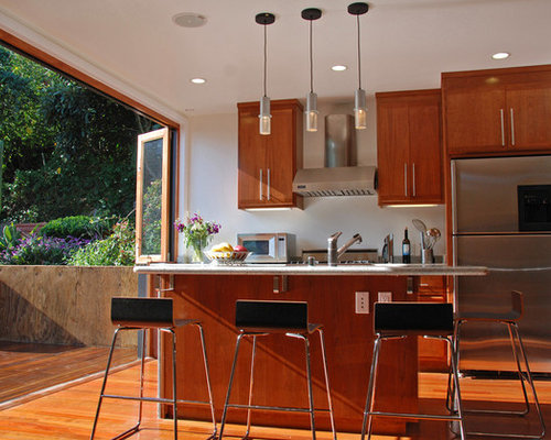 Beautiful Example Of A Trendy Galley Kitchen Design In San Francisco With Medium Tone  Wood Cabinets And