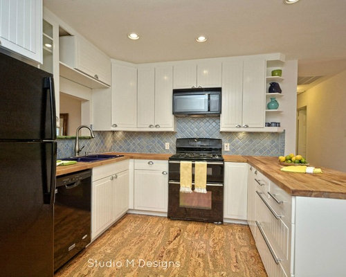 Kitchen With Wood Countertops And Cork Floors Design Ideas Remodel Pictures Houzz