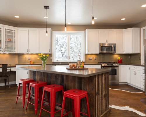 Farmhouse U Shaped Dark Wood Floor Kitchen Idea In Salt Lake City With  Shaker Cabinets