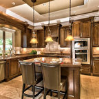 Dark mixed wood custom cabinets - Traditional - Kitchen - Minneapolis - by Ehlen Creative ...