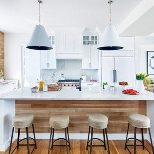 Huge Beach Style Kitchen Appliance   Kitchen   Huge Beach Style L Shaped  Light Wood