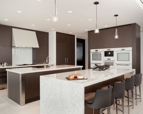 Large Contemporary Kitchen Ideas   Example Of A Large Trendy Marble Floor  And White Floor Kitchen