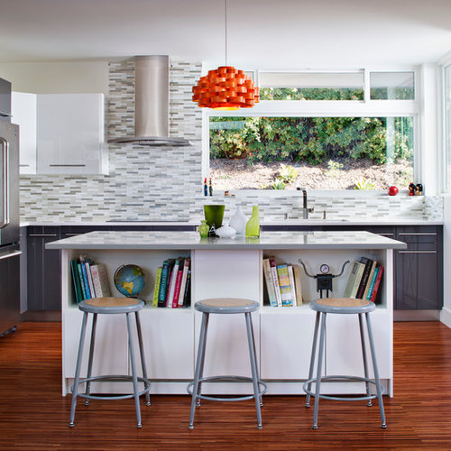 Trendy Kitchen Photo In Other With Flat Panel Cabinets White Multicolored Backsplash