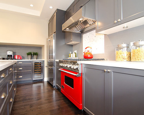 Grey cabinets and dark counters houzz for Grey floor black cabinets