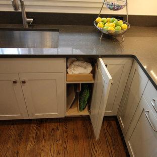 デトロイトの大きいエクレクティックスタイルのおしゃれなキッチン (シェーカースタイル扉のキャビネット、クオーツストーンカウンター、シルバーの調理設備の、アンダーカウンターシンク、濃色木目調キャビネット、白いキッチンパネル、濃色無垢フローリング、茶色い床、グレーのキッチンカウンター) の写真