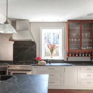 This is an example of a large transitional eat-in kitchen in Philadelphia with an integrated sink, recessed-panel cabinets, white cabinets, soapstone benchtops, stainless steel appliances, dark hardwood floors, with island and brown floor.