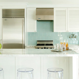 Trendy Single Wall Kitchen Photo In Miami With Stainless Steel Appliances, Louvered  Cabinets,