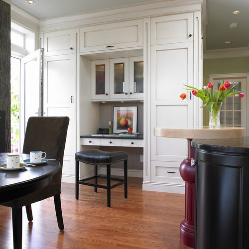 Traditional Eat In Kitchen Idea In Vancouver With Recessed Panel Cabinets,  White Cabinets