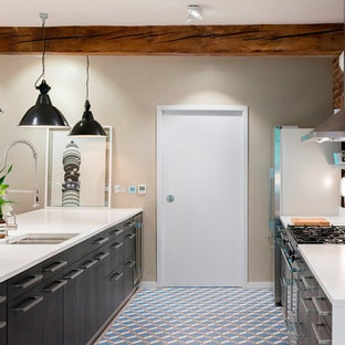 Industrial kitchen designs - Urban galley kitchen photo in London with a double-bowl sink, flat-panel cabinets, white cabinets, stainless steel appliances and a peninsula
