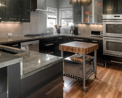 Mid Sized Contemporary Eat In Kitchen Pictures   Mid Sized Trendy U