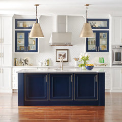 Charming Omega Cabinetry: White Kitchen With Custom Blue Island