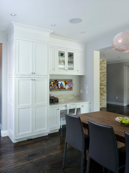 Inspiration For A Transitional Eat In Kitchen Remodel In Toronto With  Shaker Cabinets And White