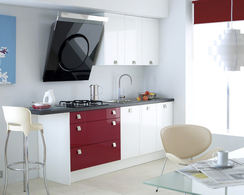 Contemporary Kitchen Idea In London With Flat Panel Cabinets And Red  Cabinets
