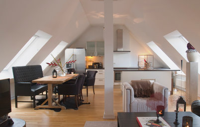 My Houzz: Red and Black Pop in a German Penthouse