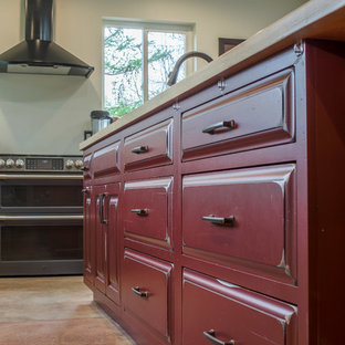 Onyx and Red Rustic Kitchen in Ann Arbor, MI