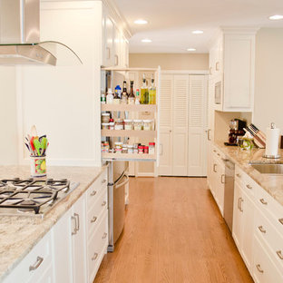 Inspiration for a traditional galley kitchen in Philadelphia with an undermount sink, recessed-panel cabinets, white cabinets, stainless steel appliances and medium hardwood floors.