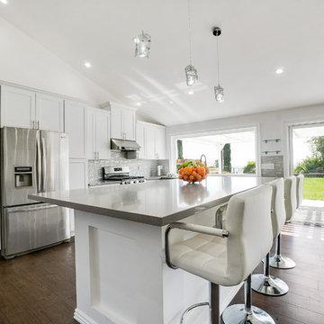 Open Concept Kitchen - Gray Quartz Countertops - Issaquah WA