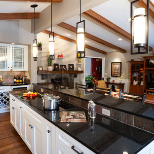 Traditional eat-in kitchen in Omaha with a single-bowl sink, shaker cabinets, white cabinets, granite benchtops, slate splashback, stainless steel appliances, medium hardwood floors, brown floor and black benchtop.