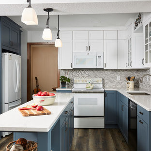 Large Transitional Kitchen Pictures Inspiration For A U Shaped Dark Wood Floor