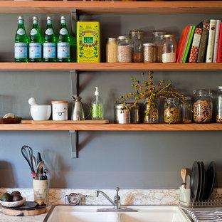 トランジショナルスタイルのおしゃれなキッチン (ドロップインシンク、オープンシェルフ) の写真