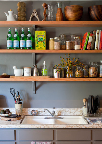 Transitional Kitchen Open kitchen shelves
