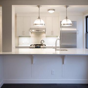 Open Kitchen through Island Table - Modern Glam Apartment Renovation