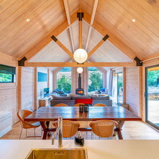 Open plan kitchen and dining areain an alpine retreat