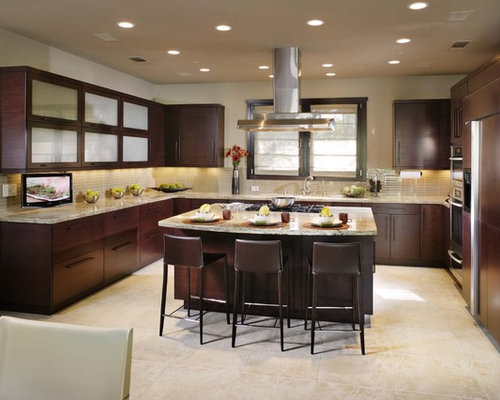 Contemporary Kitchen Idea In Sacramento With Paneled Appliances, Flat Panel  Cabinets And Dark Wood