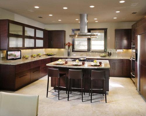 dark cabinets with tile floor | houzz