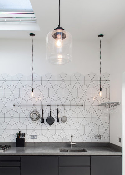 Kitchen of the Week: Geometric Tile Wall in a Black and ...