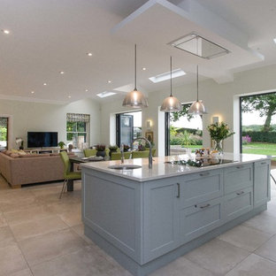 Open plan Pale Blue Kitchen Dining and Living Space