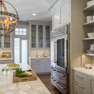 Large beach style eat-in kitchen ideas - Eat-in kitchen - large beach style dark wood floor eat-in kitchen idea in San Francisco with a farmhouse sink, open cabinets, white backsplash, stainless steel appliances and an island
