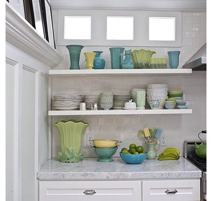Kitchen Open Shelving and Carrera Marble Countertops