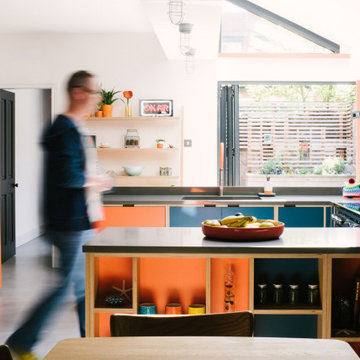 Orange and Blue Plywood Kitchen - The James's