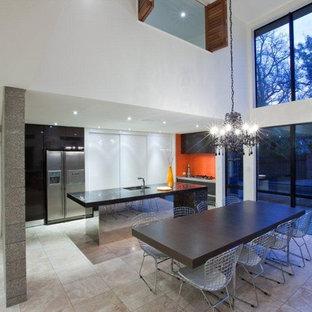 Orange, Black and White Kitchen