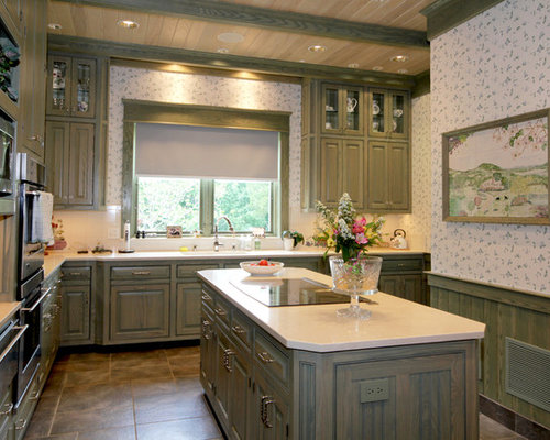 Green Stained Cabinets Houzz