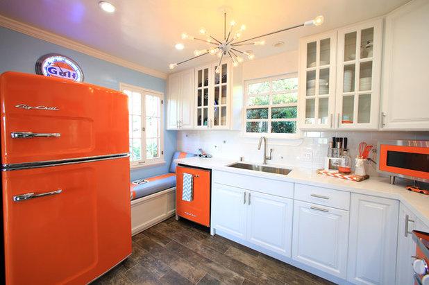 Transitional Kitchen Orange Retro Kitchen Appliances with Modern Touch