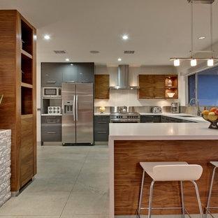 ロサンゼルスの大きいミッドセンチュリースタイルのおしゃれなキッチン (アンダーカウンターシンク、フラットパネル扉のキャビネット、グレーのキャビネット、メタリックのキッチンパネル、シルバーの調理設備の) の写真